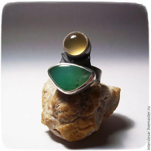 Кольца ручной работы. Ярмарка Мастеров - ручная работа. Купить Хризопраз и сердолик кольцо. Handmade. Комбинированный, серебряное кольцо, сердолик
