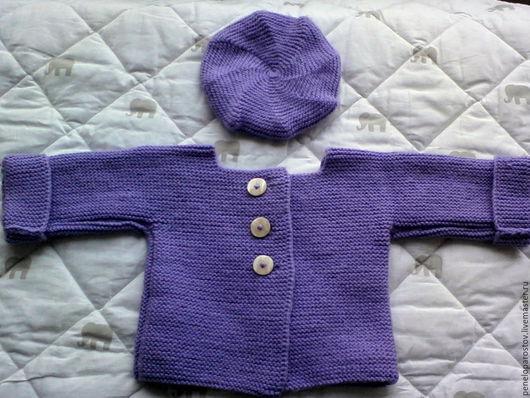Одежда для девочек, ручной работы. Ярмарка Мастеров - ручная работа. Купить Комплект для девочки: жакет и беретик. Handmade. Сиреневый
