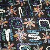 """Материалы для творчества ручной работы. Ярмарка Мастеров - ручная работа Ткань пальтовая с шерстяной вышивкой """"Изумрудно-сиреневое бохо"""". Handmade."""