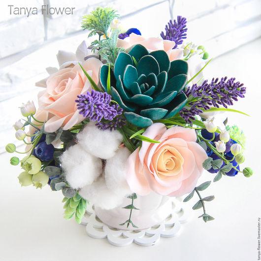 """Букеты ручной работы. Ярмарка Мастеров - ручная работа. Купить Букет цветов """"Лаванда и изумруд"""" с розами, ландышами и суккулентами. Handmade."""