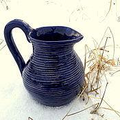 Для дома и интерьера ручной работы. Ярмарка Мастеров - ручная работа Керамический фактурный синий кувшин. Handmade.