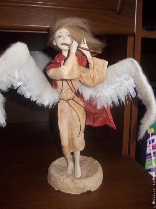 Коллекционные куклы ручной работы. Ярмарка Мастеров - ручная работа. Купить Флейте внимайте. Handmade. Оранжевый, флейта, крылья, текстиль