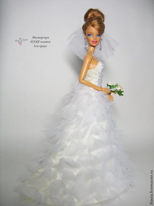 """Одежда для кукол ручной работы. Ярмарка Мастеров - ручная работа. Купить свадебное платье """"Облачко"""". Handmade. Свадебное платье, атлас"""