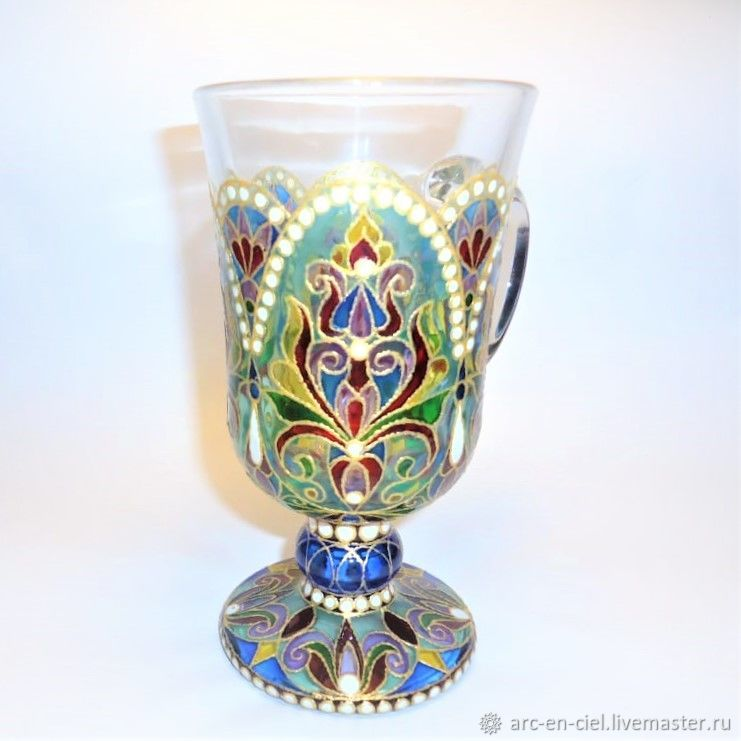 Glass painted Cup on a stand, stained glass painting, Mugs and cups, Omsk,  Фото №1