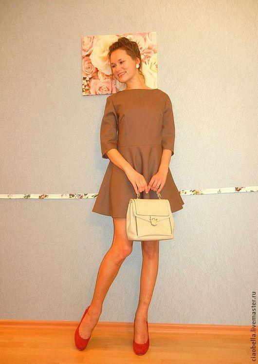 """Платья ручной работы. Ярмарка Мастеров - ручная работа. Купить Платье """"Mademoiselle"""" из тонкой шерсти. Handmade. Коричневый, платье из шерсти"""