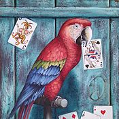 handmade. Livemaster - original item Oil painting with macaw parrot From another deck. Handmade.
