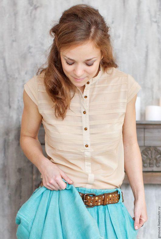 Блузки ручной работы. Ярмарка Мастеров - ручная работа. Купить Блузка бежевая. Handmade. Бежевый, рубашка, бежевая блузка, шифон