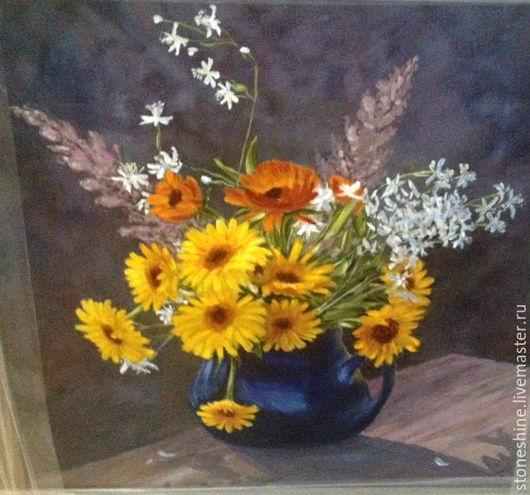 Картины цветов ручной работы. Ярмарка Мастеров - ручная работа. Купить Желтые цветы натюрморт, масло, холст. Handmade. Желтый