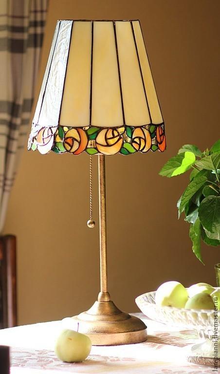 """Освещение ручной работы. Ярмарка Мастеров - ручная работа. Купить Лампа """"Розы"""". Handmade. Тиффани, подарок, оригинальный, настольный светильник"""