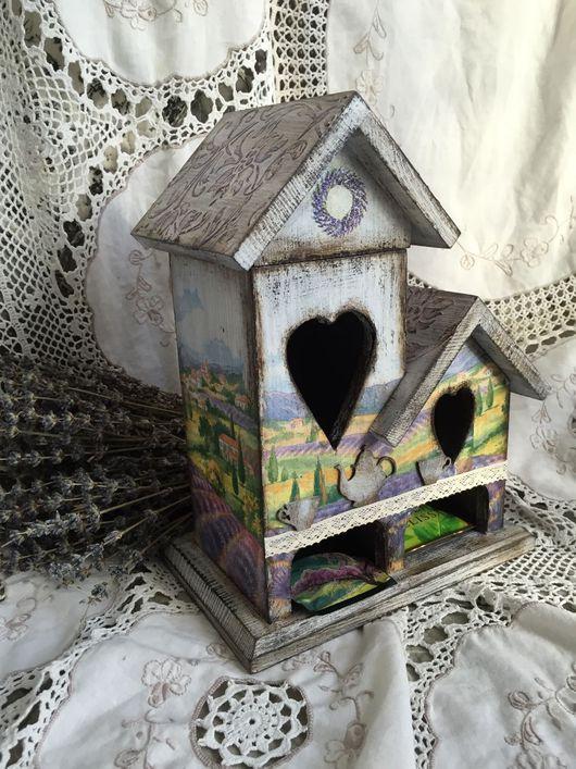 Кухня ручной работы. Ярмарка Мастеров - ручная работа. Купить Двойной деревянный домик для чая ручной работы Поля Прованса. Handmade.