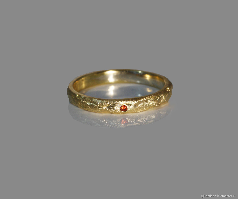 Тонкое золотое обручальное кольцо с гранатом, Кольца, Хайфа, Фото №1