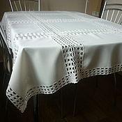 Для дома и интерьера ручной работы. Ярмарка Мастеров - ручная работа Скатерть комбинированная (вязание и ткань). Handmade.
