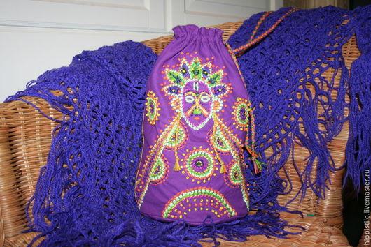 Женские сумки ручной работы. Ярмарка Мастеров - ручная работа. Купить дух шамана. Handmade. Тёмно-фиолетовый, вышивка