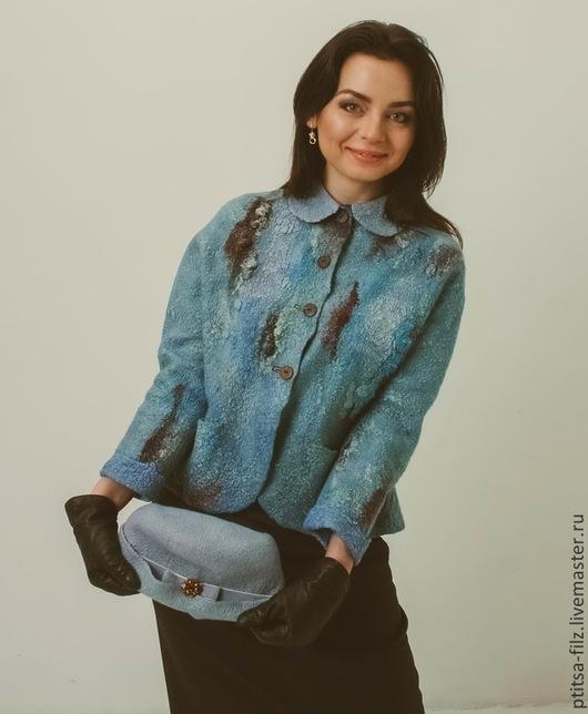 """Пиджаки, жакеты ручной работы. Ярмарка Мастеров - ручная работа. Купить Жакет """"Мадемуазель"""". Handmade. Голубой, упить жакет, вискоза"""