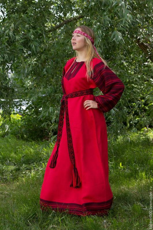 """Одежда ручной работы. Ярмарка Мастеров - ручная работа. Купить Платье """"Этно"""" красное. Handmade. Ярко-красный, льняное платье"""