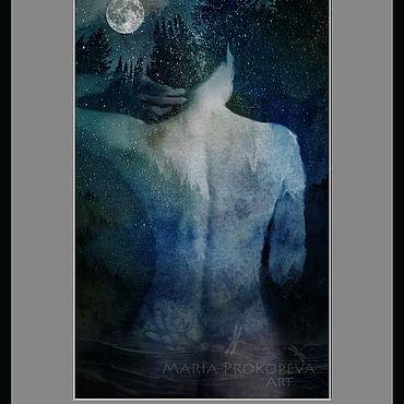 Картины и панно ручной работы. Ярмарка Мастеров - ручная работа Ночные купания под Луной. Женщина это космос.. Handmade.