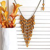 Украшения handmade. Livemaster - original item Leather Turmeric necklace. Handmade.
