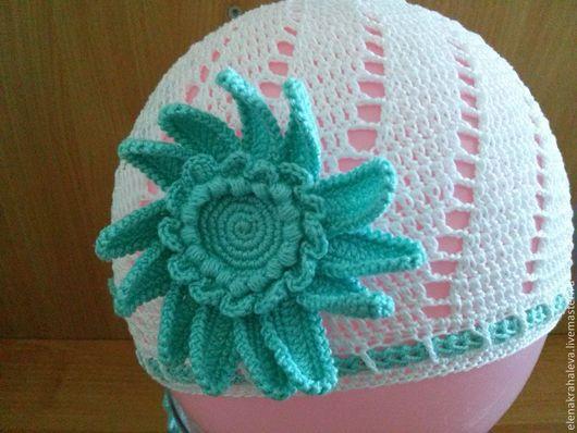 Шапки и шарфы ручной работы. Ярмарка Мастеров - ручная работа. Купить Летняя шапочка для девочки с цветком. Handmade. Белый