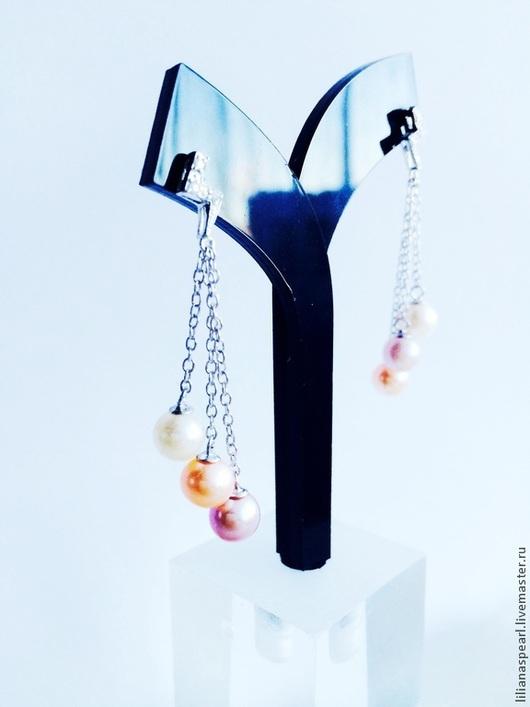 Серьги ручной работы. Ярмарка Мастеров - ручная работа. Купить Серьги с жемчугом натуральным ААА 6,0мм нежных цветов на серебре 925. Handmade.