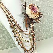 Украшения handmade. Livemaster - original item Etude Pink Peony. Necklace, brooch flower. Handmade.