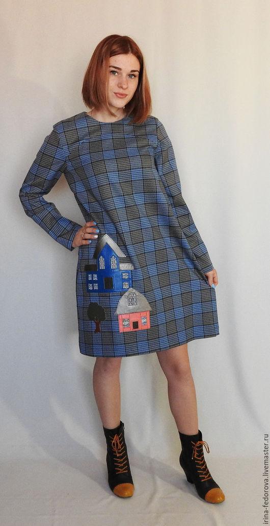 Платья ручной работы. Ярмарка Мастеров - ручная работа. Купить Платье в клетку Города. Handmade. Голубой, платье в клетку