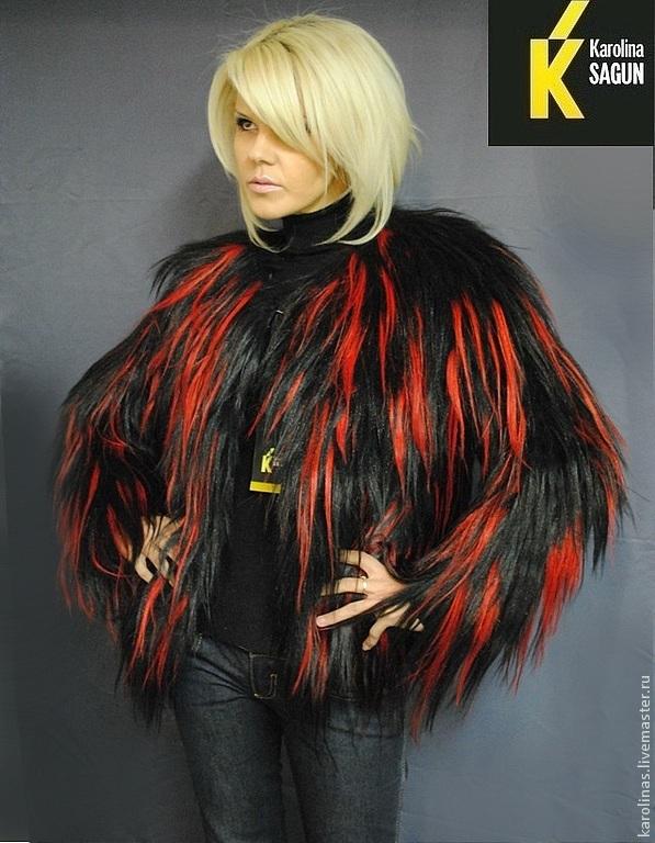 Верхняя одежда ручной работы. Ярмарка Мастеров - ручная работа. Купить Шуба-трансформер из яка черно-красная. Handmade.