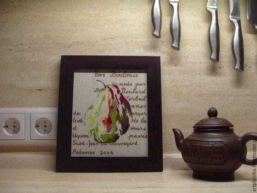 Натюрморт ручной работы. Ярмарка Мастеров - ручная работа. Купить Картина вышитая крестом Груша. Handmade. Картина, подарок
