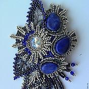 Украшения handmade. Livemaster - original item Brooch beaded with lapis lazuli