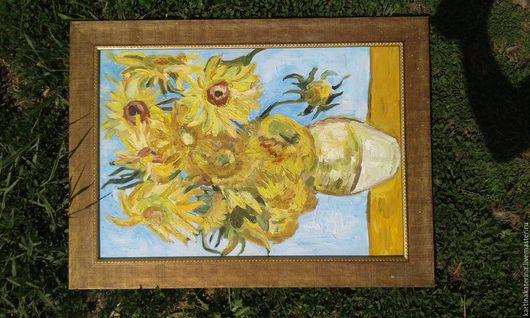 Картины цветов ручной работы. Ярмарка Мастеров - ручная работа. Купить подсолнухи. Handmade. Желтый, фактура, недорогой подарок