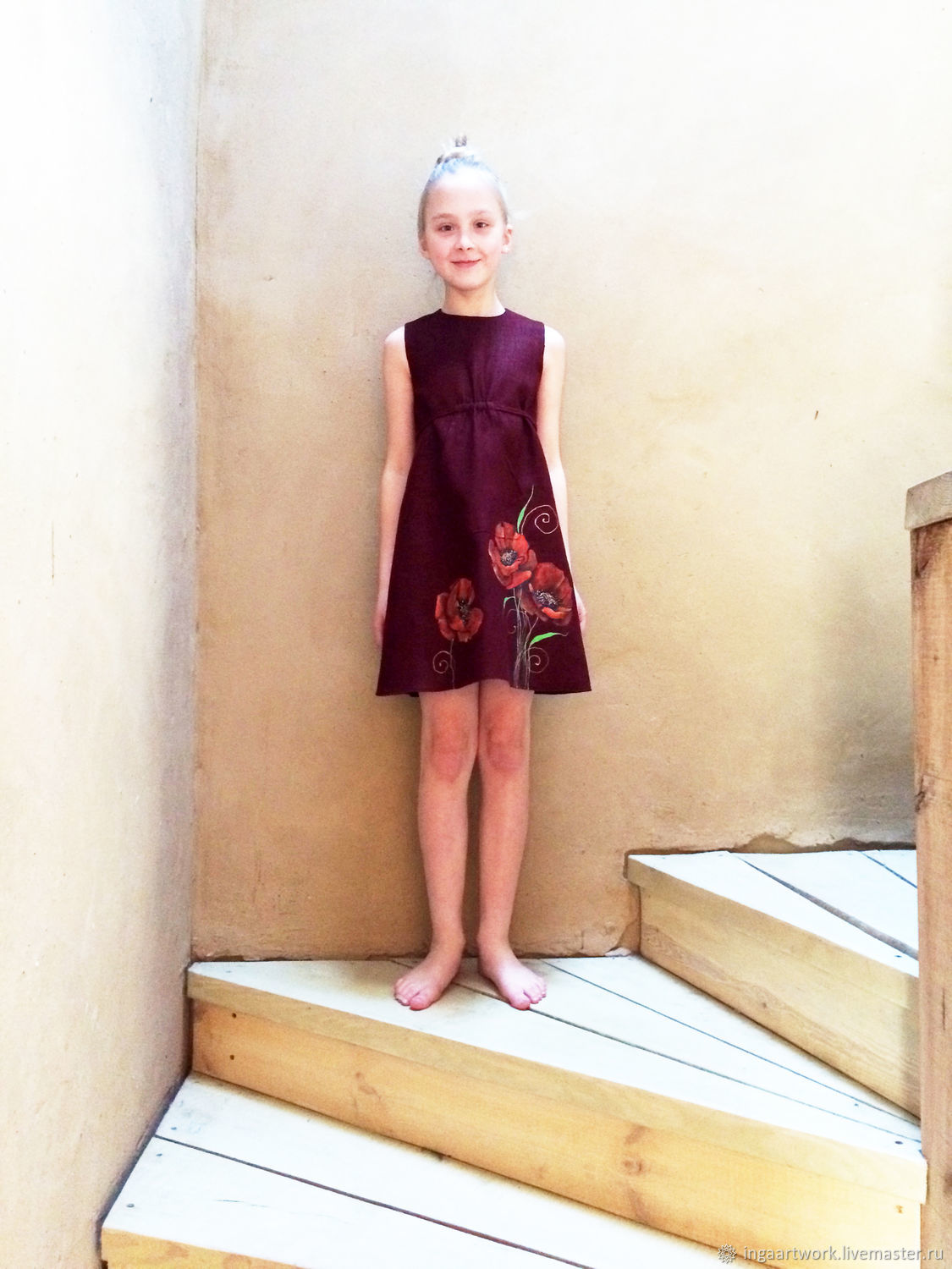 048de7672f93 Burgundy toddler dress with painted fox
