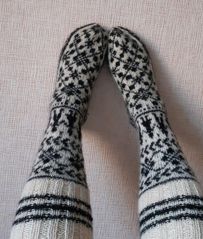 cotton knee-socks with Norwegian pattern, Leg warmers, Saransk,  Фото №1