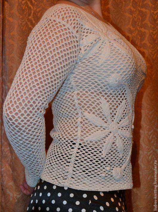 Кофты и свитера ручной работы. Ярмарка Мастеров - ручная работа. Купить Летний джемпер крючком. Handmade. Белый