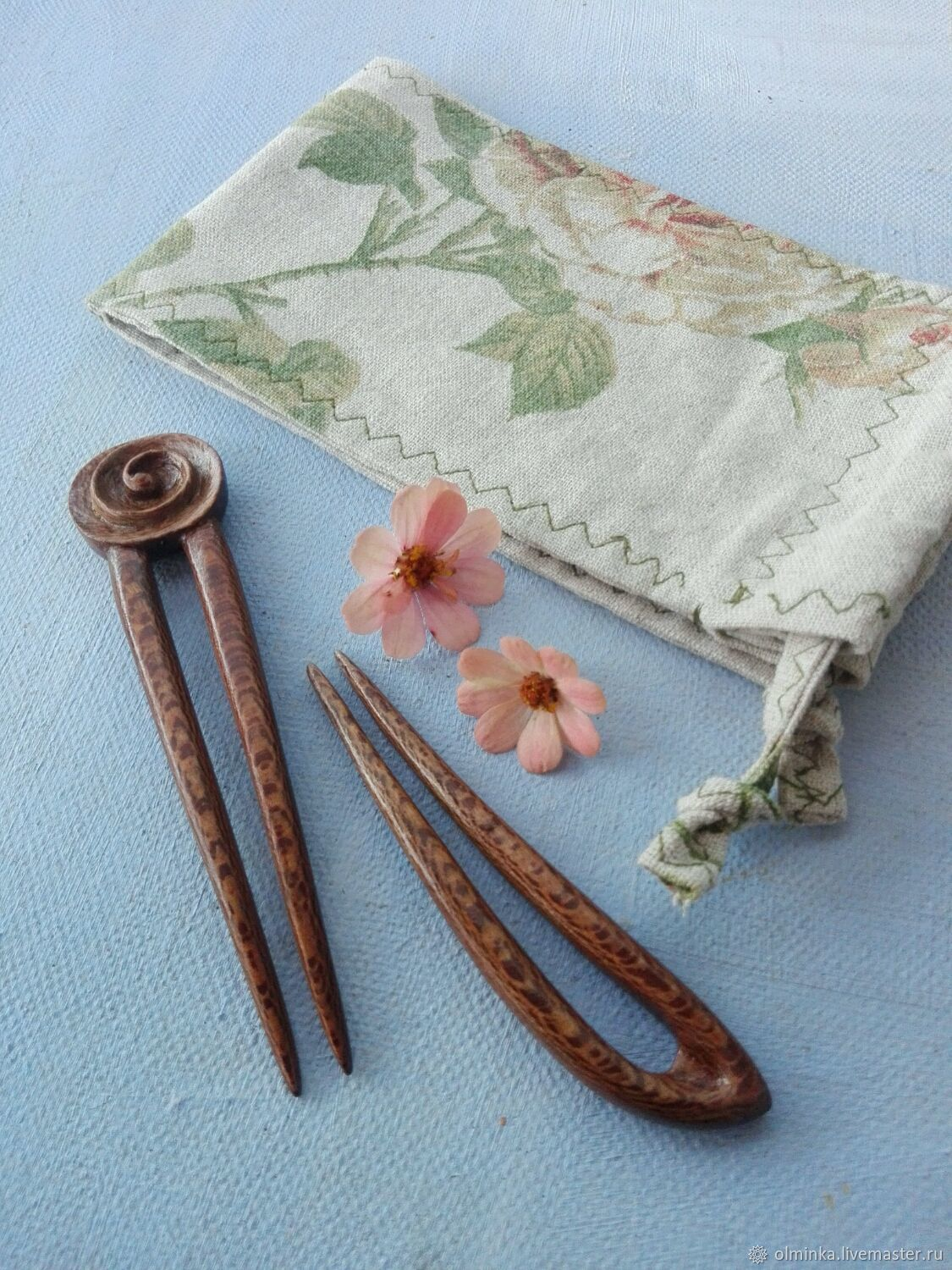 Set of 2 Sycamore Hair Stick with carving in a linen bag, Hairpins, Sochi,  Фото №1