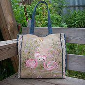 handmade. Livemaster - original item Hand-painted linen bag Pink Flamingo eco-Bag. Handmade.