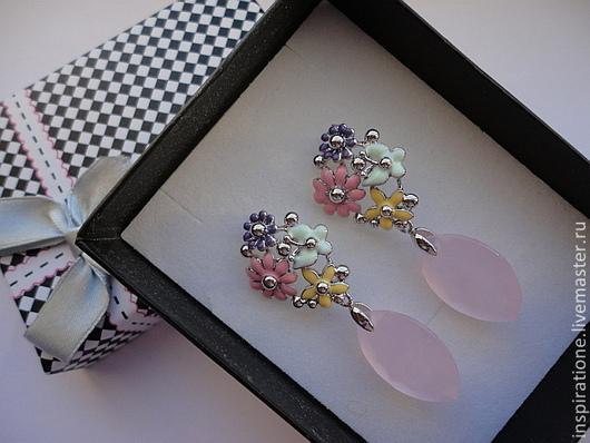 Серьги ручной работы. Ярмарка Мастеров - ручная работа. Купить Серьги с розовым кварцем, эмаль, латунь, серебро 925 пробы.. Handmade.