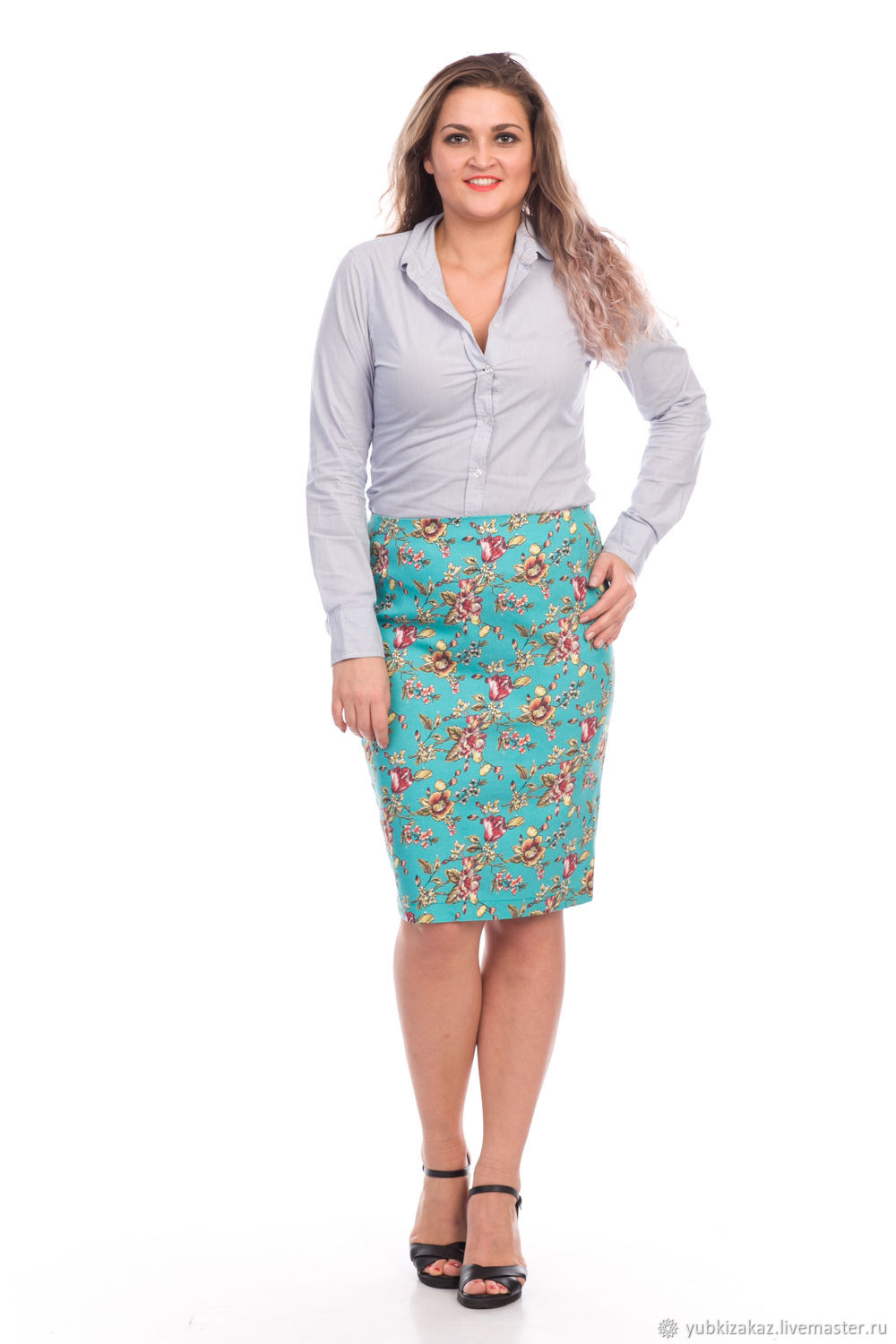 Cotton skirt with flowers turquoise bright, Skirts, Novosibirsk,  Фото №1