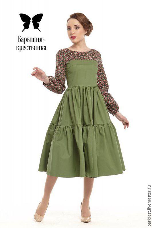 Платья ручной работы. Ярмарка Мастеров - ручная работа. Купить Весна на Заречной улице. Handmade. Зеленый, стильное платье, хлопок
