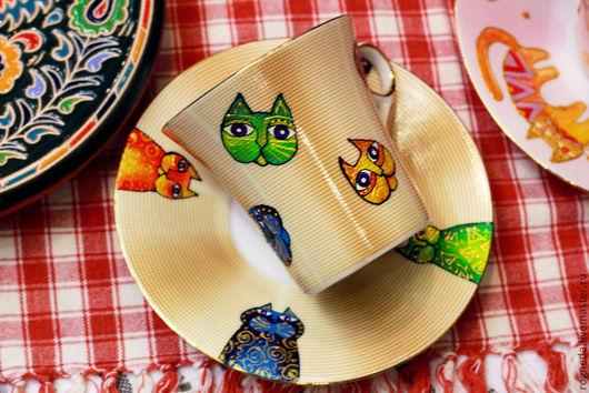 Сервизы, чайные пары ручной работы. Ярмарка Мастеров - ручная работа. Купить Золотая коточашка с блюдцем (кофейная) (0107). Handmade.