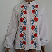 Одежда ручной работы. Ярмарка Мастеров - ручная работа блузка с воротником-стоечкой. Handmade.
