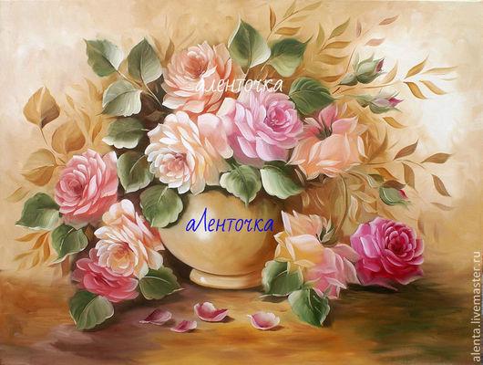 Вышивка ручной работы. Ярмарка Мастеров - ручная работа. Купить Принт. Душистые розы. Handmade. Разноцветный, принт, принты