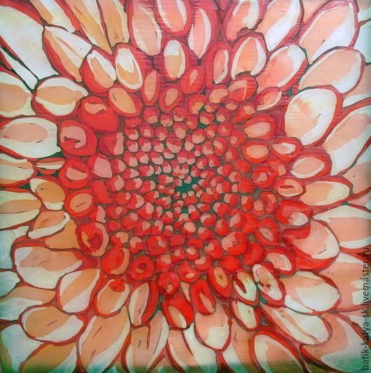 """Шали, палантины ручной работы. Ярмарка Мастеров - ручная работа. Купить Батик платок """"Красный георгин"""". Handmade. Красный цветок"""