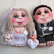 Мягкие игрушки ручной работы. Ярмарка Мастеров - ручная работа Кукла Попик Свадебная пара (жених и невеста) - кукла на удачу. Handmade.