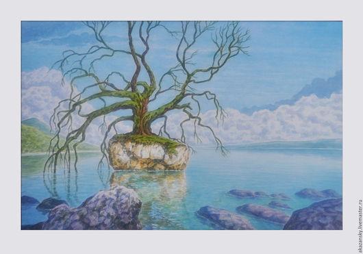 Фантазийные сюжеты ручной работы. Ярмарка Мастеров - ручная работа. Купить Дерево на озере. Handmade. Голубой, живопись акварелью