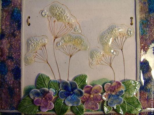 Картины цветов ручной работы. Ярмарка Мастеров - ручная работа. Купить подарок -панно Анютины глазки Керамика. Handmade.