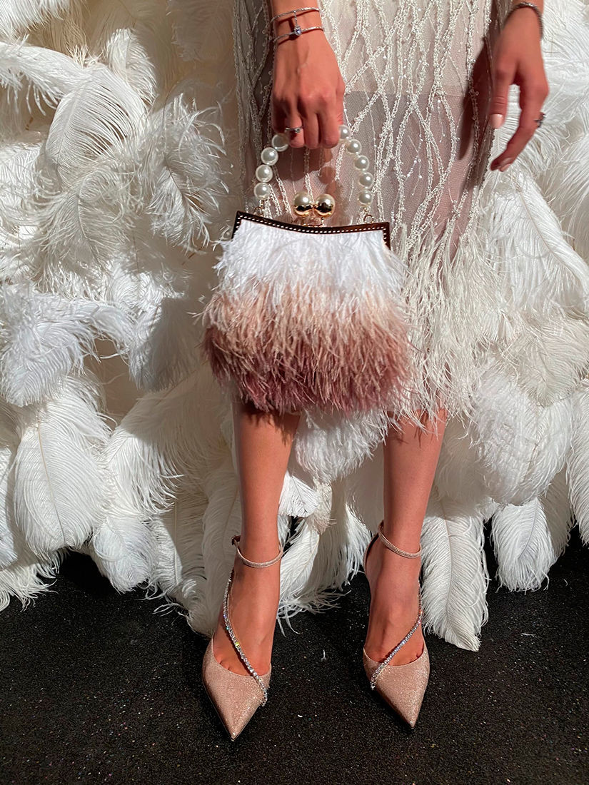 Сумка из перьев страуса с жемчугом. Вечерняя сумочка с перьями, Клатчи, Санкт-Петербург,  Фото №1