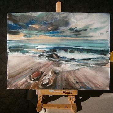 """Картины и панно ручной работы. Ярмарка Мастеров - ручная работа Картина в смешанной технике """" Мое море"""". Handmade."""