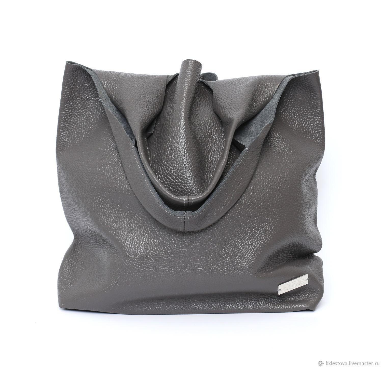 Handbags handmade. Livemaster - handmade. Buy Bag - medium size with two pockets.Leather, dark gray, package