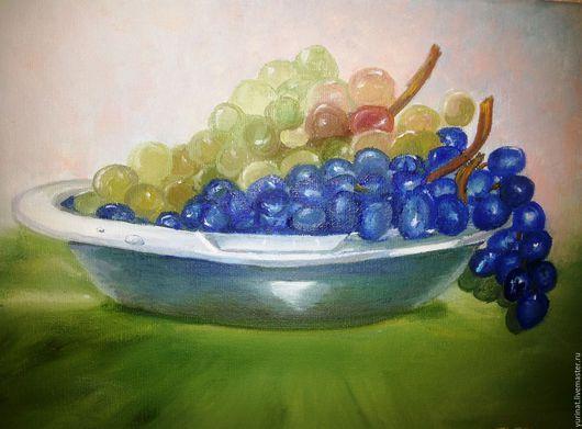 Натюрморт ручной работы. Ярмарка Мастеров - ручная работа. Купить Виноград в чаше. (авторская работа). Handmade. Комбинированный, подарок