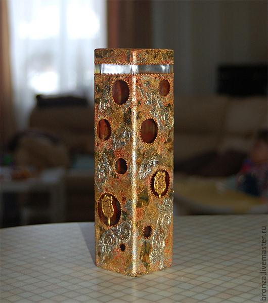 """Вазы ручной работы. Ярмарка Мастеров - ручная работа. Купить Ваза """"Круги и грани"""". Handmade. Золотой, ваза для сухоцветов"""