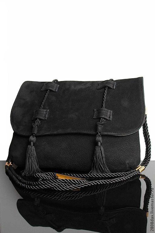 Bag 'Bohemian style', black suede, tassels, silk cord, Classic Bag, Bordeaux,  Фото №1